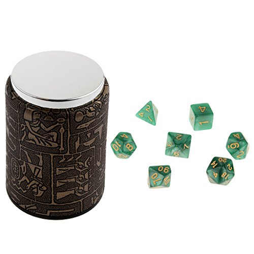 Jili Online 7 Pieces Green Multi Sided Dice with Dice Cup Set for D&D TRPG Party Pub Bar Casino Poker Dice Guessing Games Supplies D4 D6 D8 D10(0-9) D10(00-90) D12 (Pub Poker Set)