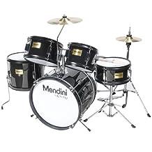Mendini 5-Piece 16-Inch Junior Drum Set, Metallic Black - MJDS-5-BK