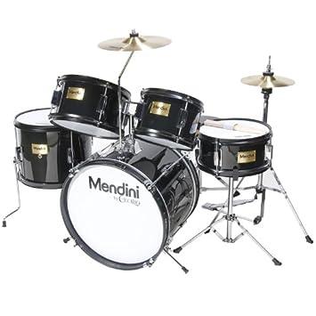 Amazon Com Mendini 5 Drum Set Black Inch Mjds 5 Bk Musical