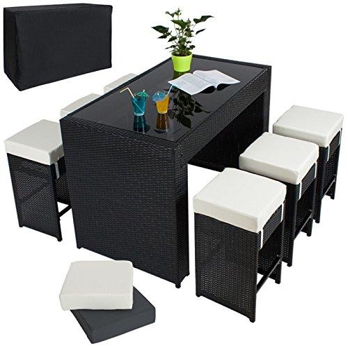 Mesa alta jardín + 6 taburetes ratán negro 210814: Amazon.es: Hogar