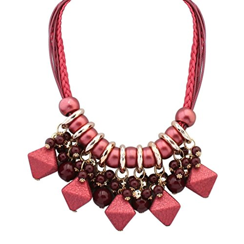Adisaer Gold Plated Bohemian Statement Necklace for Womens Rhombus Geometry with Beads Red