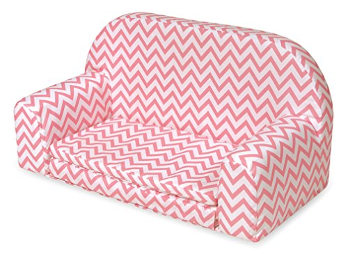 Badger Basket Chevron Upholstered Doll Sofa with Foldout Bed (fits American Girl Dolls), Pink/White (Chevron Chaise)