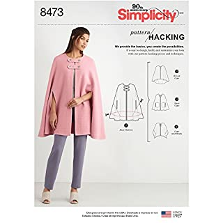 Simplicity Pattern Hacking Women's Hi-Low Cape, Short Cape, and Banded Cape Sewing Patterns, Sizes XS-XL