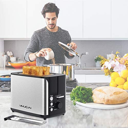 2 Slice Toaster Stainless Steel Bread Toasters 7 Toasting Browning Shade Settings with Extra Wide Slot and Removable Crumb Tray, Bagel/Cancel/Gluten Free/Reheat Function, 900 Watt, Sliver&Black