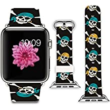 Apple Watch Band+adapter 42mm Stainless Steel Silver Metal Replacement Strap Wrist Band for Apple Watch 42mm (100% Leather - Pirate Skull)