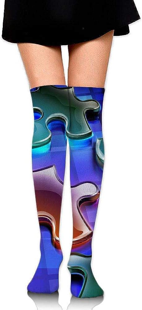 High Elasticity Girl Cotton Knee High Socks Uniform Water Iron Jigsaw Puzzle Women Tube Socks