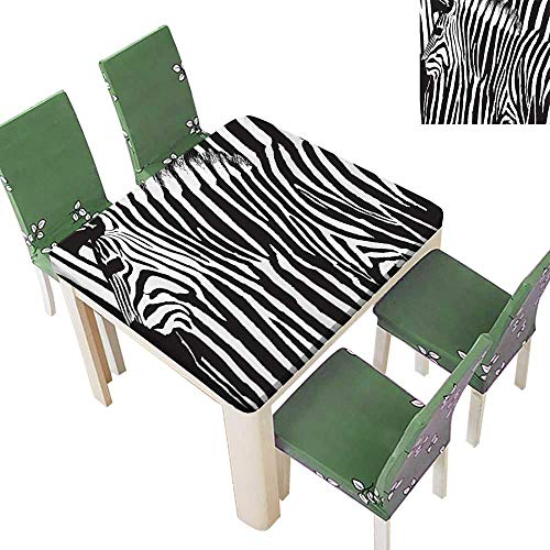Printsonne Polyester Fabric Tablecloth Zebra with Animal Blended Over Itself to Create an Abstract Summer & Outdoor Picnics 52 x 52 Inch