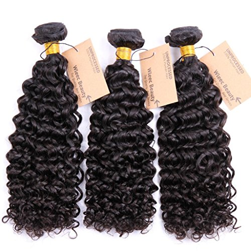 Wleec Beauty 3 Bundles Brazilian Virgin Curly Hair, Grade 5A Natural Color Virgin Human Hair Extensions Size 10 Inches 12 Inches 14 Inches