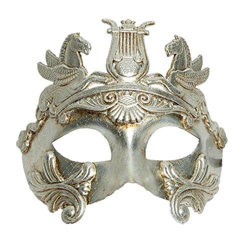 KBW Global Corp. Men's Silver Spartan Venetian Half Mask