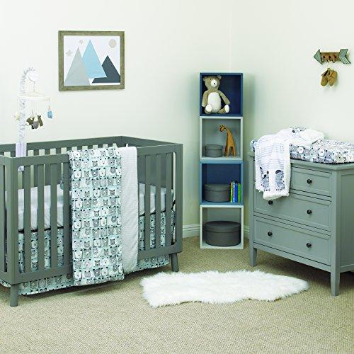 Nursery Hugs Bear (Dwell Studio Bear Hugs 3 Piece Nursery Crib Bedding Set, Blue, Gray, White)