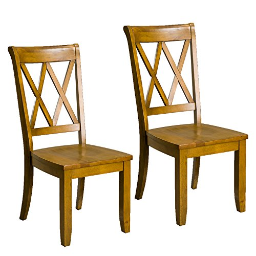 1307 Vintage Transitional Style Dining Side Chairs Pack of 2 Honey Oak ()