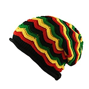8e95343fc UD Accessories Itzu Oversized Slouch Rasta Beanie Hat WAFFLE Black Green  Yellow Red