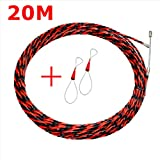 Zooarts Professional 10M 6mm Cable Fish Tape Wire Network Wire Guider Cable Puller Electrician Threading Device Lead Device (20m)
