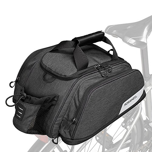 Roswheel Bike Rear Seat Bag, Bicycle Backseat Bag Cycling Pannier Rear Rack Trunk Bag Chest Bag Water Resistant 8L Massive Capacity for Outdoor Traveling Hunting Commuting (Expandable 12L + 7L)