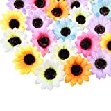Shiny Flower Artificial Sunflower Heads 60 PCS Artificial Daisies Craft Fake Sunflowers Daisy Petals for DIY Wreath Accessories Wedding Party Baby Shower Home Decor, Multi-Colour