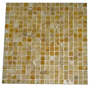 "5/8 x 5/8 Premium Quality Honey Onyx Polished Mosaics Meshed on 12"" X 12"" Sheet for Backsplash, Shower Walls, Bathroom Floors"