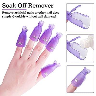 SXC Gel Nail Polish Remover Kit with Soak Off Nail Clips 1000pcs Nail Remover Pads Triangle Cuticle Peeler Scraper Cuticle Pusher 100/180 Nail Files 400/6000 Nail Buffer Block, R-01