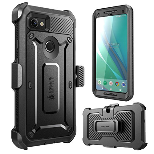 Google Pixel 2 XL Case, SUPCASE Full-Body Rugged Holster Case with Built-in Screen Protector for Google Pixel 2 XL 2017 Release, Unicorn Beetle PRO Series - Retail Package (Black)