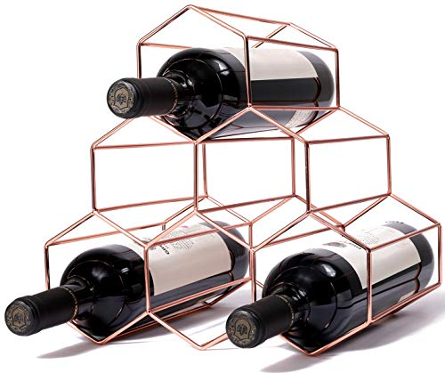 exilot 6 Bottles Metal Wine Rack, Countertop Freestanding Wine Bottle Storage Holder,Space Saver for Red & White Wines - Rosegold ¡­
