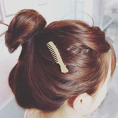Staron 1Pair Women Hair Pins Clips Cute Comb Shape Headwear Accessories Headpiece (Gold) by Staron (Image #2)