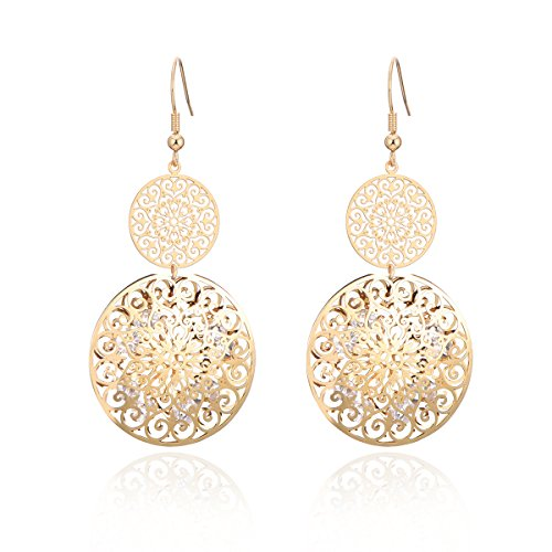 Dangle Earring for Women, Hollow Drop Earring Insert CZ Crystal Gold and Silver Vintage Earring with Rhinestone (Gold Plated) ()
