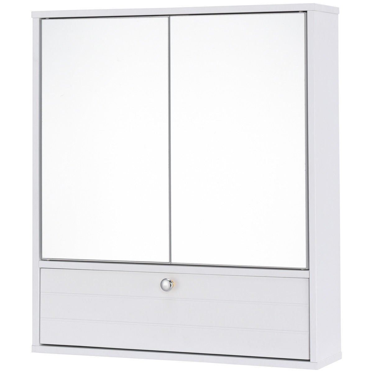 White Wall Mounted 2 Doors Bathroom Over The Toilet Mirrored Storage Cabinet Lower Storage Compartment Medicine Toiletries Makeup Storage Organizer Height Adjustable 3 Level Inner Shelf Ample Storage