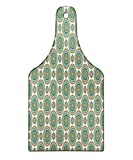 Lunarable Mandala Cutting Board, Far Eastern Spiritual Meditation Yoga Symbolic Universe Chakra Pattern, Decorative Tempered Glass Cutting and Serving Board, Wine Bottle Shape, Orange Turquoise Teal