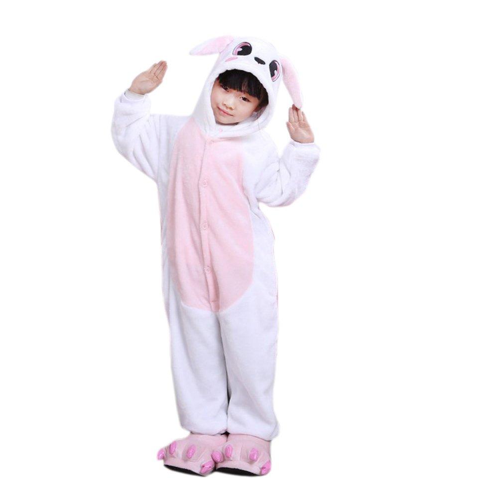 Yamer Unisex Child Rabbit Animal Onesie Cosplay Costume Flannel Homewear Pajama Kids11a