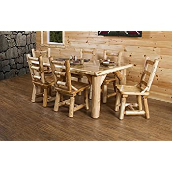 Rustic White Cedar Log Dining Table U0026 6 Chairs Set