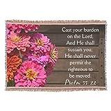Zazzle Pink Zinnia Psalm Bible Cast Your Burden Christian Throw Blanket