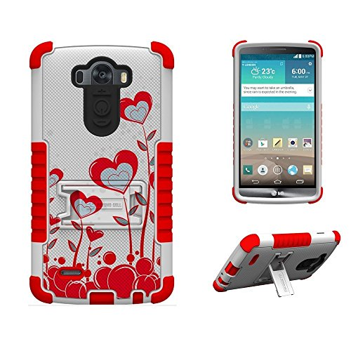 - Beyond Cell High Impact Rugged Tri Shield Protective 3 Layer Hybrid Case Cover with Built in Kickstand and Clear Screen Protector film for LG G3 D850/VS985/D851/990 Collection Series - True Heart - White/Red