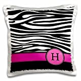 3dRose Letter H Monogrammed Black and White Zebra Stripes Animal Print with Hot Pink Personalized Initial Pillow Case, 16 x 16''