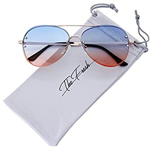 The Fresh Oversize Rimless Double Crossbar Ocean Color Lens Aviator Sunglasses 61mm Gift Box (3-Gold, Blue/Orange)