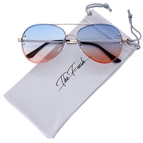 The Fresh Oversize Rimless Double Crossbar Ocean Color Lens Aviator Sunglasses 61mm Gift Box (3-Gold, (Contact Lenses Halloween No Prescription)