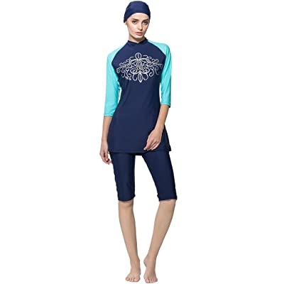 Ababalaya Womens' UPF 50+ Moderate Cover 2 Piece Burkini