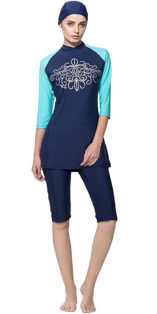 Ababalaya Women's Modest Muslim Burkini Print 2 Pieces Swimwear Rash Guard Surfing Suit,010Blue,Tag 3XL= US Size 12-14
