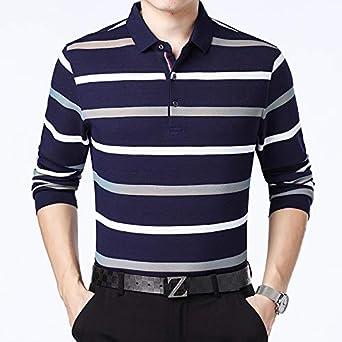 hombre Camiseta Polo de Manga Larga Tops de Solapa a Rayas ...