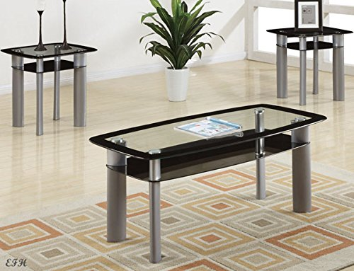 New Modern 3pc Black Tinted Glass & Silver Gray Finish Metal Coffee End Table Set by Advanced Furniture