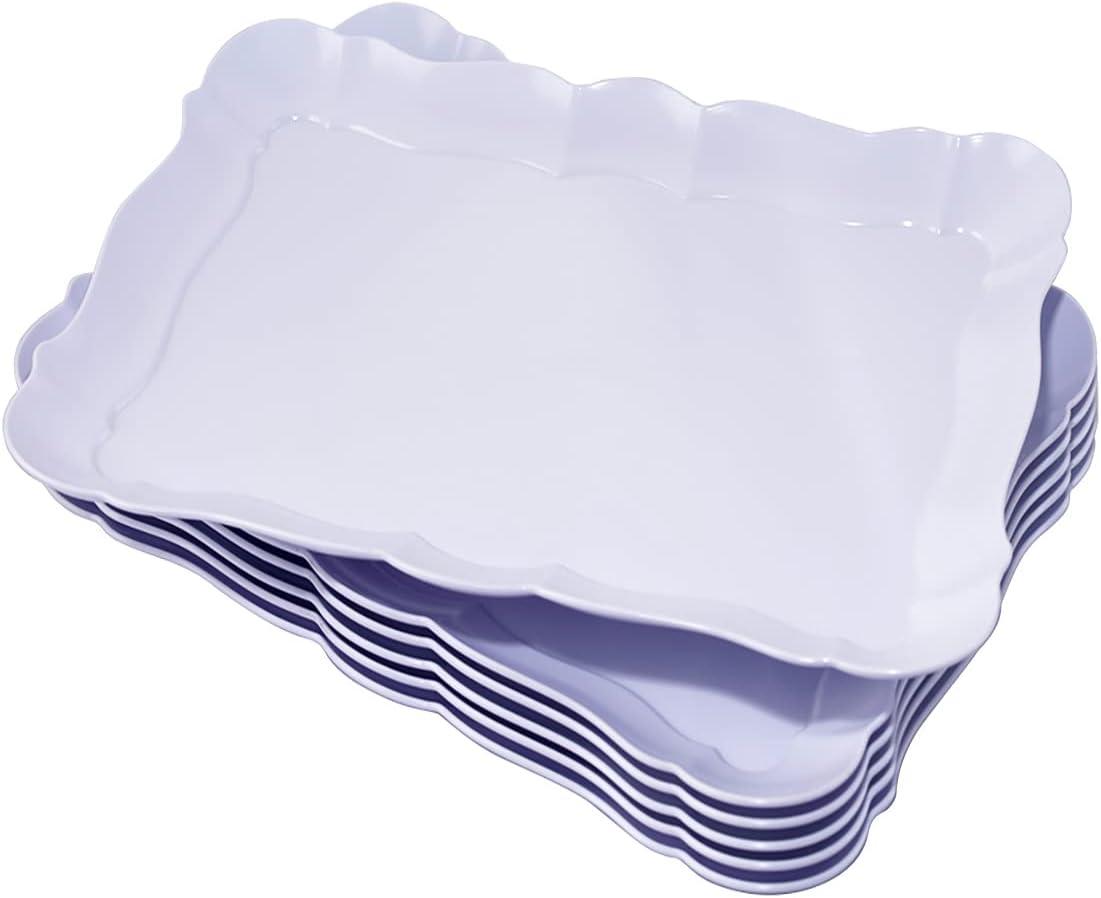 BBG 6 Pack Rectangle White Plastic Serving Trays, 15