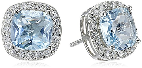 Sterling Silver Gemstone and Cubic Zirconia Stud Earrings