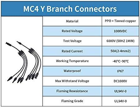 Nishore Paar MC4-Steckverbinder Buchse Solar Kabel Y-Abzweig 1 bis 4, Paralleladapterkabel, Drahtstecker-Tool-Kit für Solarpanel