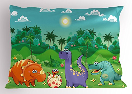 Ambesonne Nursery Pillow Sham, Funny Dinosaurs and Tropical Rainforest Cartoon Jungle Green Landscape Kids Theme, Decorative Standard Size Printed Pillowcase, 26 X 20 Inches, Multicolor