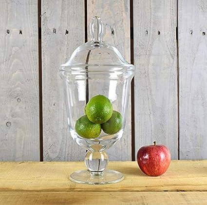 EMH Pot /à pieds en verre fait main avec couvercle 30 cm
