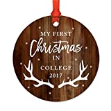 Andaz Press Graduation University Student Metal Christmas Ornament, My First Christmas in College 2018, Rustic Wood with Deer Antlers, 1-Pack, Includes Ribbon and Gift Bag