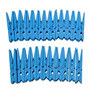 Derker Wood Craft Clothespins ,Bright Colored Clothes Pegs Pins - 24 Piece (2.9 ) (Blue)