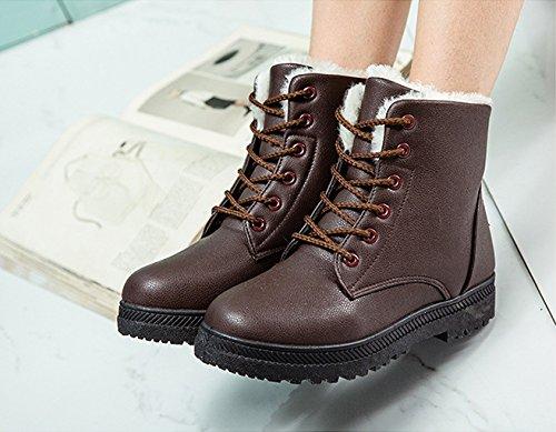 up Sneaker Lace Platform Duberess Shoes Winter Brown Waterproof Boots Women's Flat Snow E0qnwZH