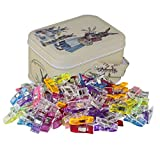 go sewing - Sewing Clips,Quilting Supplies Pack of 120Pieces Multipurpose Plastic Clips With Tin Box for Crafting,Crochet and Knitting,All Purpose Multicolor Clips for Quilt Binding (120 Small)