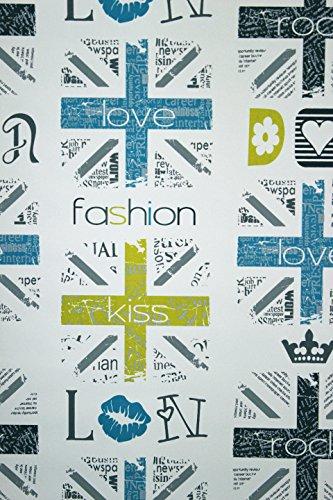Vlies Tapete Fashion Style Jugend Zimmer Girls Tapete weiß türkis ...