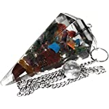 Orgonite Point Dowsing Pendulum with 7 Chakra crystals by Green Cross Toad