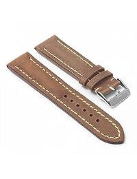 DASSARI Avant Tan Distressed Italian Leather Watch Band for BREITLING 22/20 22mm